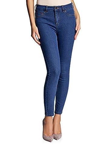 oodji Ultra Femme Jean Slim à Taille Haute, Bleu, 30W / 30L (FR 44 / XL)