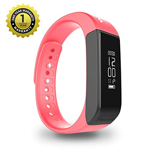 MevoFit Drive Fitness Band & Smart Watch : Smart-Watches with Fitness-Tracker-Bands for Men-&-Women | Activity-Pedometer (Red)