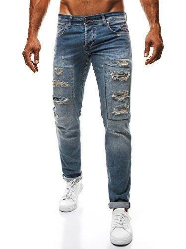 OZONEE Uomo Strappati Pantaloni Jeans Taglio Straigh Pantaloni sportivi Jeans Aderenti Jeans Skinny OTANTIK 240 - Nero, 29W