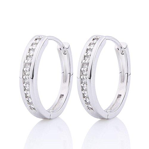 GULICX Vintage Retro-Stil Weiße Klare Kristall Rund Ohrringe Kleine Silber-Ton Zirkonia CZ Creole
