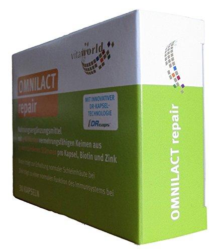 Vita World Omnilact Repair 10 capsule Zinco Biotina Lactobacillus Bifidobacterium Probiotico DRcaps Made in (Vita Biotina)