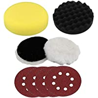 Digital Craft 5 Inch 125mm Sponge Waxing Buffing Polishing Sanding Pad for Car Polisher Wax and Furniture Combo