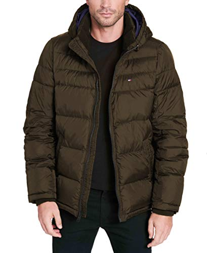 Tommy Hilfiger Men's Big Tall Insulated Midlength Quilted Puffer Jacket with Fixed Hood, Olive, 3X-Large - Tommy Hilfiger Quilted Coat