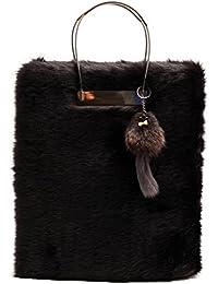 Zarapack Women s Designer Large Black Faux Fur It Bag Shoulder Bag Runway  Tote Bag 90805a7b2504f