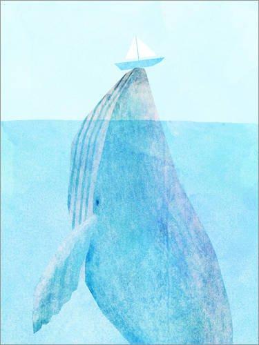 Holzbild 30 x 40 cm: Wal mit Schiffchen von Eric Fan