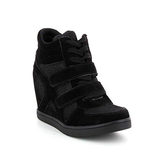 Go Mode - Baskets compensées bimatière scintillante - Femme Noir