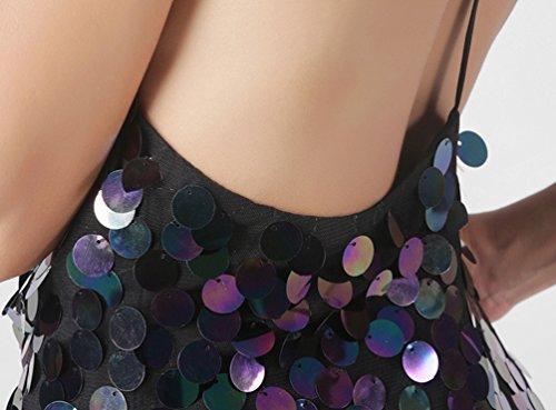 WanYang Damen Sexy Mode Paillettenkleid Rückenfrei Bodycon Mini Abendkleid Cocktail Partykleid Festlich Clubwear Marine