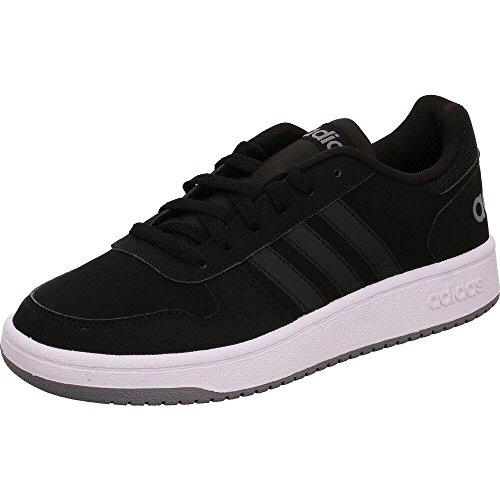 adidas Herren Freizeitschuh Sneaker HOOPS 2.0 schwarz grau, Größe:47
