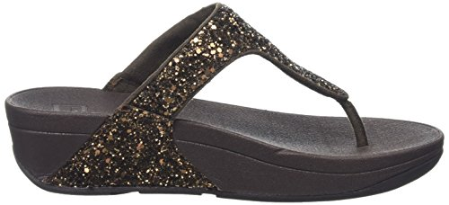 Fitflop Women's Glitterball Post T-strap Sandals, Brown (Bronze Glitter), 6.5 Uk 40 Eu