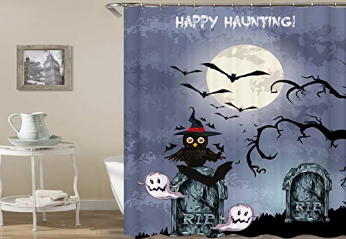 dsgrdhrty Lila Mond Hintergrund Weißer Mond Halloween Schwarze Fledermaus Cartoon Eule Wasserdichter Badvorhang antibakteriell tragbar und waschbar