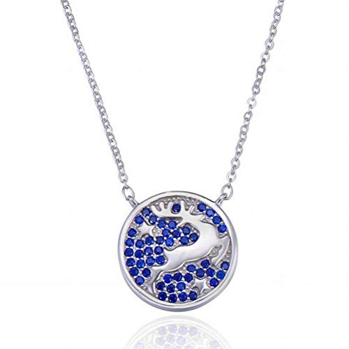 Good dress S925 Sterling Silber Halskette Damenmode Mikro Eingelegten Blauen Diamanten Kleine Elch Anhänger Schlüsselbein Kette Hirsch Weihnachten Ornamente, Satz von Ketten, Wie Gezeigt