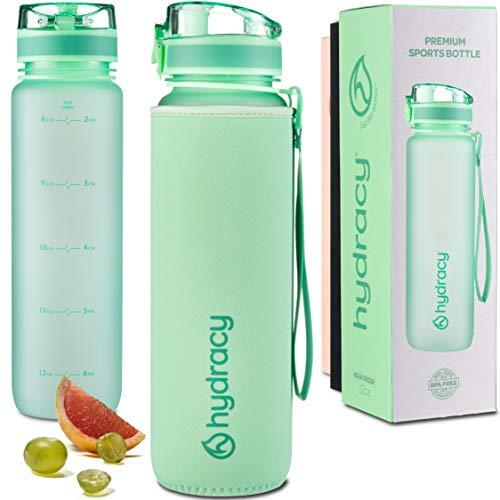 Hydracy 1 Liter Wasserflasche mit Infuser und Zeitmarkierung - BPA-Frei Auslaufsicher und Kondenswasserfrei - Ideal für Sport und Outdooraktivität - Aqua Grün