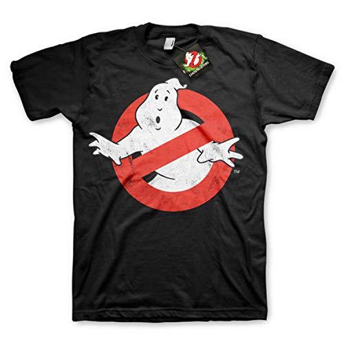 Ghostbusters T-Shirt die Geisterjäger mit Klassischem Logo Schwarz Trikot - Original Offiziel (Medium)