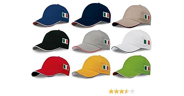 STOCK 10 PEZZI cappello CAPPELLO VISIERA RIGIDA ricamo tricolore BANDIERA ITALIA ITALIANA