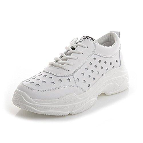 Femmes Chaussures Espadrilles Blancs D'été, Mesdames Creux Chaussures De Trou Respirant, Confortable Fond Épais Dentelle Souliers,A,39