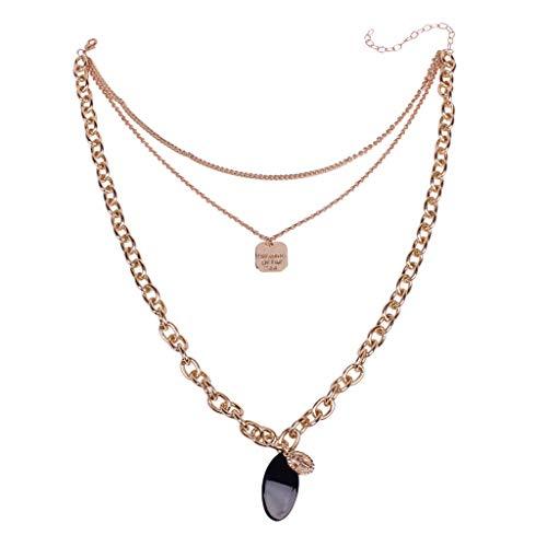 XIAOJING Charm-Halskette. Modische einfache europäische und amerikanische Halskette für Damen Gr. Einheitsgröße, Gold - Unter Dollar Süße 10 Jeans