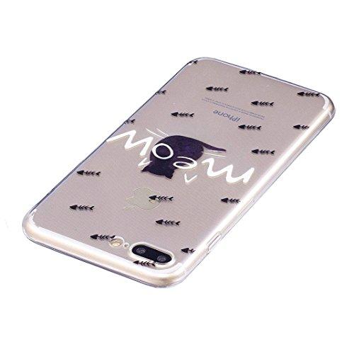 Etui iPhone 8 PLUS Housse Souple de Protection OuDu Coque iPhone 8 PLUS Transparente * Nouveau Motif * Etui en Silicone TPU Caoutchouc Etui Flexible Lisse Housse Ultra Mince Coque Poids Léger Soft Sil Le dos de chat