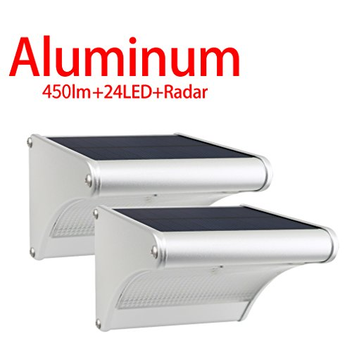 Licwshi 450 Lumens Solarleuchten 24 LED mit Aluminiumlegierungsgehäuse, Wasserdichtkeit im Freien, Radar-Bewegungsinduktion, es ist geeignet für Laubengang, Garten, Hof, Garage( neue Version 2017- 2 Packung)