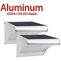 [Patrocinado]Licwshi 450 lúmenes La luz solar 24 LED de una aleación de aluminio, impermeable al aire libre, radar de sensores de movimiento, aplicable en el porche, el jardín, el patio, el garaje(2018 versión- 2)