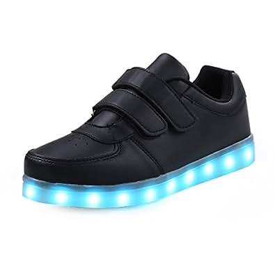 SAGUARO® Jungen Mädchen Turnschuhe USB Lade Flashing Schuhe Kinder LED leuchtende Schuhe mit farbigen Schnürsenkel, Black, 25