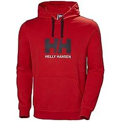 Helly Hansen Logo Hoodie Hombre con Capucha, Sudadera Casual de algodón para Uso Diario y Actividades al Aire Libre, Rojo (Bandera), S