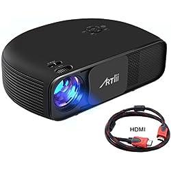 Proyector Full HD, Artlii Producción central con 3200 Lúmenes, Soporte 1080P & 2 x HDMI, para TV Stick, Tablets & Ordenador portátil & PS4 & Xbox y Más - Negro