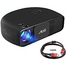 Artlii Proyector Full HD, Producción central con 3200 Lúmenes, Soporte 1080P & 2 x HDMI, para TV Stick, Tablets & Ordenador portátil & PS4 & Xbox y Más - Negro