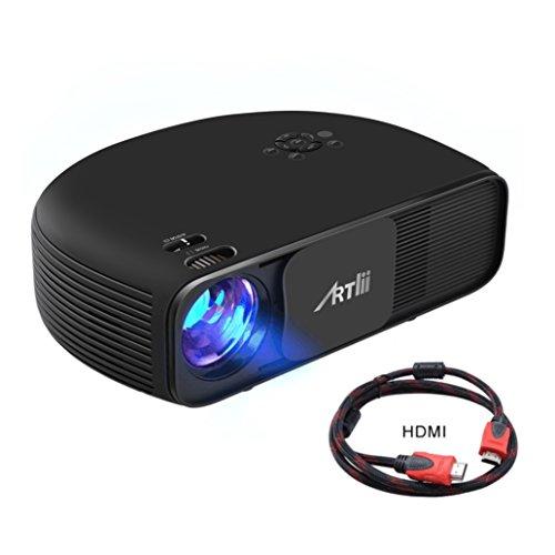 Videoprojecteur HD, Artlii Retroprojecteur 1280x800p 3D - Projecteurs LED Supporte 1080p 2xHDMI USB relier PC iPhone Smartphone Xbox PS4 - Jeux Video Films