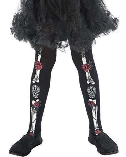 Fancy me ragazze giorno dei morti scheletro teschio di zucchero messicano festival carnevale halloween costume travestimento ossa dello scheletro rose skull calze 4-9 anni