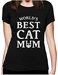 Green Turtle T-Shirts World's Best Cat Mum Gift For Cat Lover Funny Women Fitted Top T-Shirt