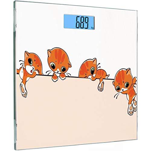 Ultra Slim Hochpräzise Sensoren Digitale Körperwaage Katzenliebhaber Dekor Gehärtetes Glas Personenwaage, Banner mit kleinen Kätzchen Katzen über die Wände springen Frei Kunstvolles Design, Orange