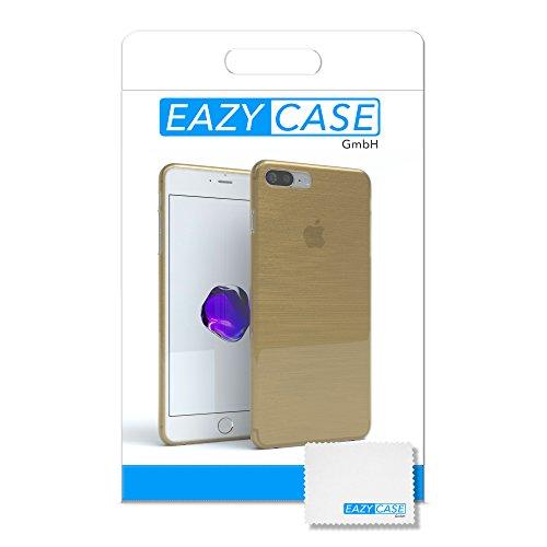 "iPhone 8+ Hülle / iPhone 7+ Hülle - EAZY CASE Premium ""CLEAR"" Slimcover Handyhülle für Apple iPhone 7 Plus & iPhone 8 Plus - Transparente Schutzhülle als Smartphone Cover in Transparent Brushed Gold"