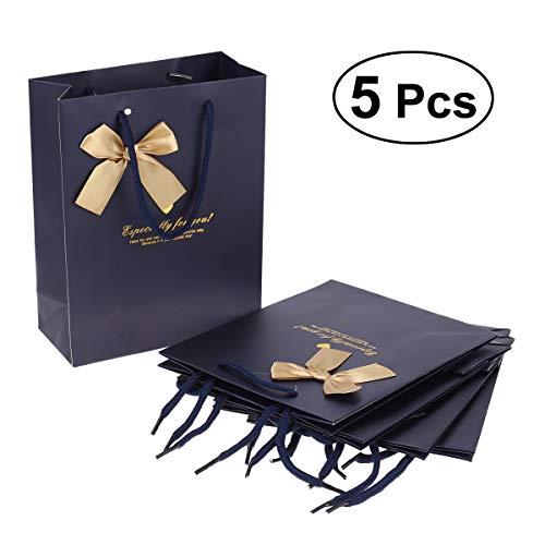 Vosarea 5x Papier Geschenk Beutel mit Griffen Candy Schokolade Schmuck Beutel Taschen für Party Hochzeit Baby Dusche Gastgeschenken Shopping Handtasche, Dunkelblau