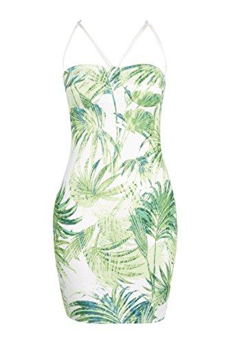vert Hommes Donatella Tropical Impression Strappy Bodycon Robe Vert