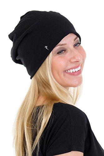 Beanie Mütze Damen Jersey elastisch einfarbig schlicht mit der Logo Elfe von 3Elfen - schwarz grau