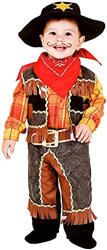 COSTUME di CARNEVALE da PICCOLO COWBOY vestito per neonato bambino 0-3 Anni travestimento veneziano halloween cosplay festa party 7707 Taglia 1