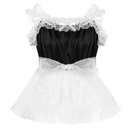 iEFiEL Herren Sissy Kleid mit Spitzen Rüschen Männer Erotik Dessous Body Hemd Nachtwäsche Satin Organza Tütü Röckchen Schwarz Medium (Organza Schwarze Tutu)