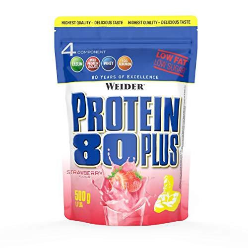 WEIDER Protein 80 Plus Eiweißpulver, Erdbeer, Low-Carb, Mehrkomponenten Casein Whey Mix für Proteinshakes, 500g