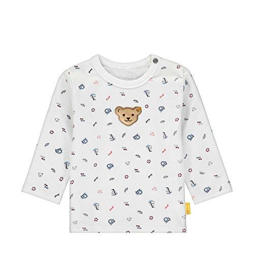 Steiff Baby-Jungen T-Shirt Langarm Langarmshirt, Weiß (Bright White 1000), 56 (Herstellergröße: 056)