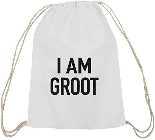 Shirtstreet24, I Am Groot, Serien Nerd Baumwoll natur Turnbeutel Rucksack Sport Beutel weiß natur