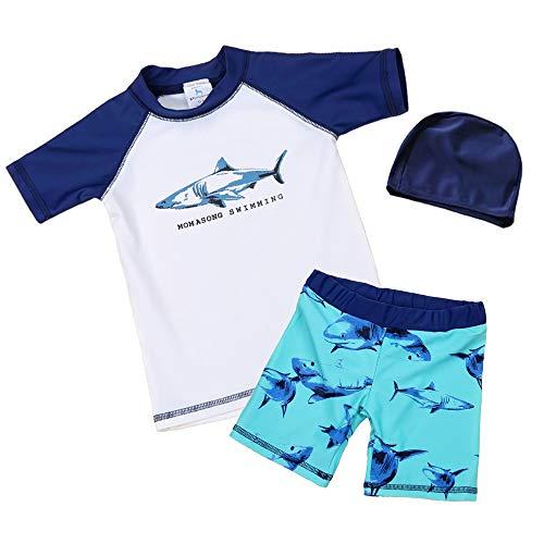 7-Mi Schwimmanzug Kinder,UV-Schutz Einteiler Haiwärmender Badeanzug- 3D Hai Baby/Mädchen/Jungen/Schwimmbekleidung, Grün,  93/98
