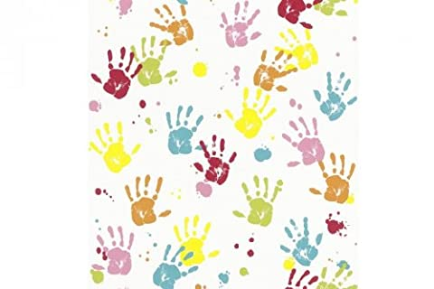Multi Coloured - 232103 - Hand Prints - Metropolis - Kids - Rasch Wallpaper