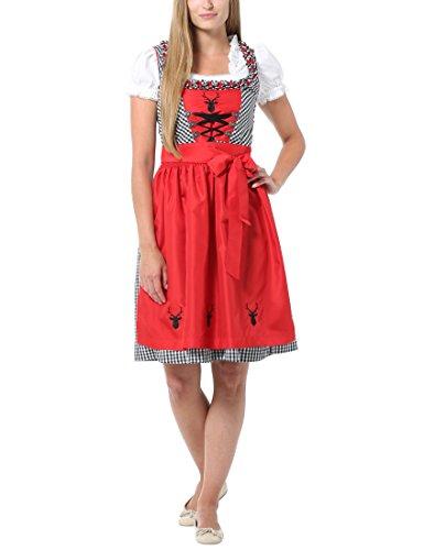 Berydale Damen Dirndl, 3-tlg, Knielang, Gr. 42, Schwarz (Schwarz/Rot)