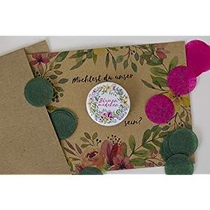Blumenmädchen, Button mit Karte