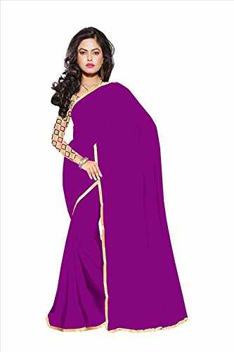 Chandra Chikan Fashion Sarees calaction chiffon Dark Purple colored Plain Saree comes with Matching Net Fabrics Unstitched blouse.