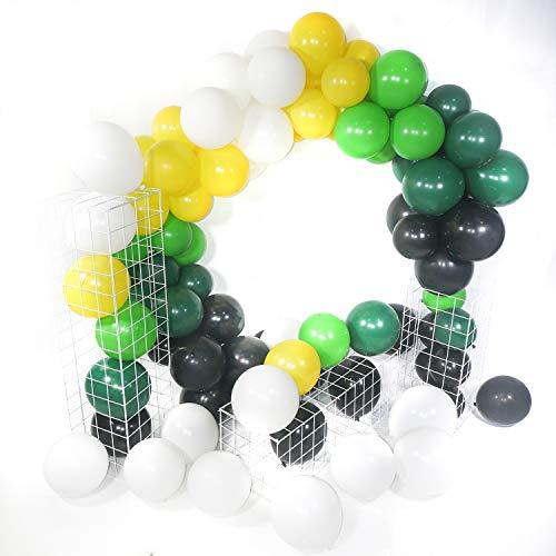 PuTwo Fussball Party Luftballons, 75 Stück Satz von Luftballons Schwarz Luftballons Grün Luftballons Weiß und Gelb Luftballons für Fußball Party, Safari Party, Jungle Party, Zoo Party, Dschungel Party