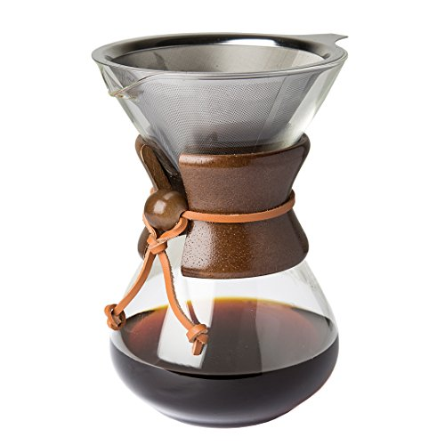 Pour Over Kaffeemaschine mit Borosilikat Glas Karaffefilter und wiederverwendbarer Edelstahl Filter - Manuelle 1L Filter Kaffeebrauer mit echten Holz Hülle - Espresso Maker - Kaffeefilter Permanent