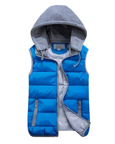 Yiiquan donna senza maniche giacca cappotto imbottito gilet con cappuccio plus size (blu, asia 2xl)