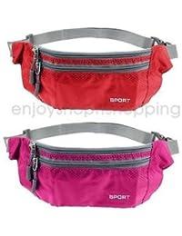 Alcoa Prime 2pc Sport Bum Bag Fanny Pack Travel Waist Money Belt Zip Pouch Wallet