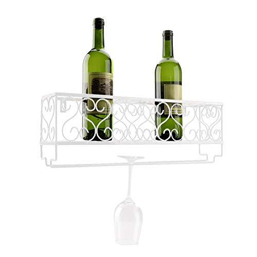 Portabottiglie da parete in metallo scaffale portabottiglie per bottiglie di vino supporti per bicchieri cremagliera del vino, 6 portabottiglie,50 x 17 x 10 cm(bianco)